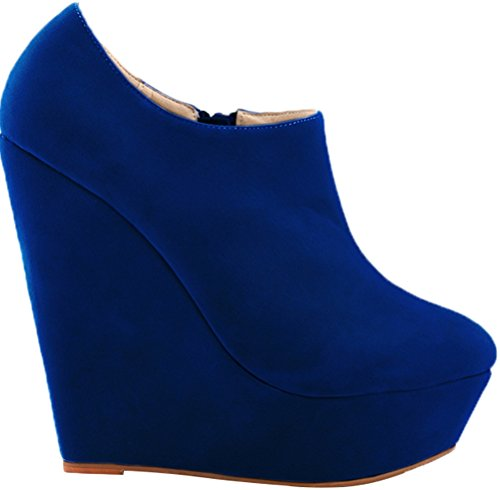 CFP YSE-391-5RB Womens Comfy Gentle Pumps Pliable PU Round Toe Relaxation Cozy Antiskidding Elegant Convenient Zipper Thick Platform Wedge High Heel Charming Office Business Blue ZM4tjETS