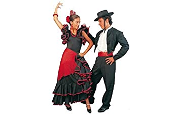 Eurocarnavales - falda sevillana negra 2 volantes con ribetes ...