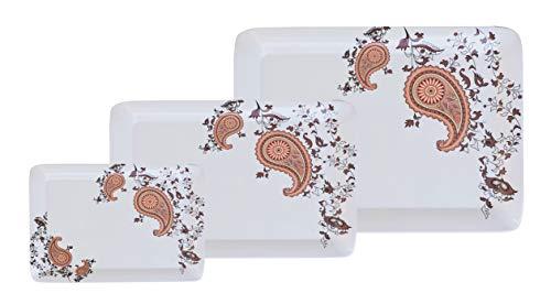 Crystalware Melamine Square Serving Tray, Orange Leaf Design Tray, Set of 3 (Small/Medium/Large) Price & Reviews