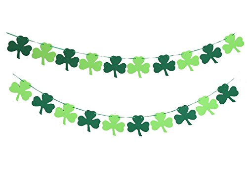 Moon Boat Shamrock Clover Garland Ribbon Banner Green - St. Patrick 's Day Decorations Party Supplies Ornament
