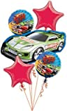 HOT WHEELS Race Car Racing Birthday Party Mylar (5) Helium Balloons Set KIT