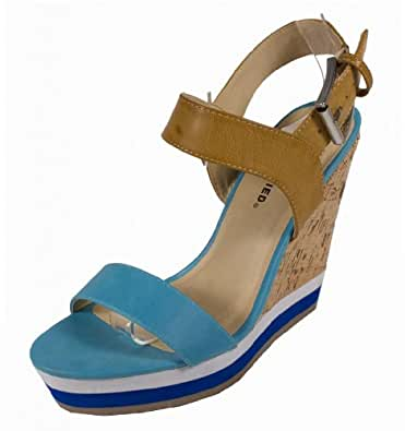 Chiyo! By City Classified Two Color Cork Wrapped Platform Wedge Sandal with Adjustable Ankle Strap, turquoise leatherette, 7 M