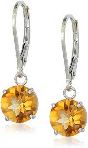 Sterling Silver Round Checkerboard Cut Gemstone Leverback Earrings (8mm)