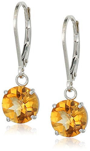 Sterling Silver Round Checkerboard Cut Citrine Leverback Earrings (8mm) ()