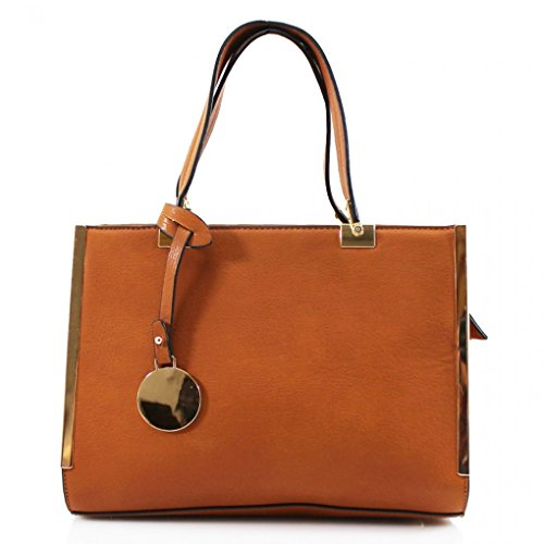 LeahWard? Women's Faux Leather Shoulder Bags Handbag For Women School College Shopping Work Bags BROWN TOTE