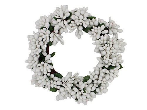 Wreath Candle Ring (6-inch White Beaded Berry Wreath Candlering Candle Ring - White)