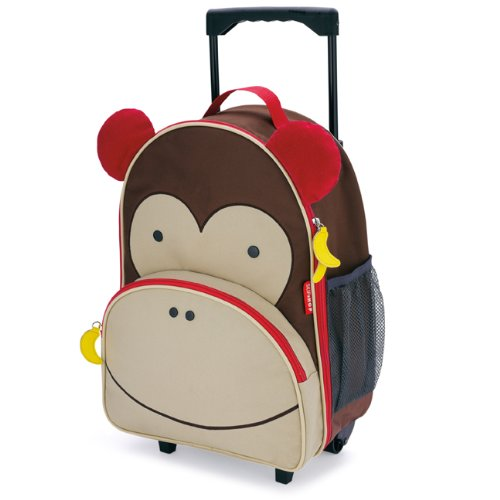 Skip Hop Zoo Little Kid & Toddler Travel Rolling Luggage Backpack (Ages 3+), Multi, Marshall Monkey