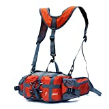 J JINPEI Waist Pack,Cycling Backpack,Fanny Bag, Large-Capacity Water-Resistant Outdoor Fanny Pack Hiking Camping Fishing Waist Bag 2 Water Bottle Holder Lumbar Pack