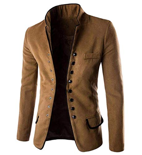 (Abetteric Mens Stand Collar Worsted Fall Winter Blazer Single Breasted Suit Khaki M)