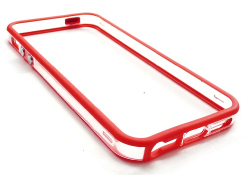 Emartbuy ® Apple Iphone 5 Moulded Bumper Frame Gel Cover / Case Rot / Klar