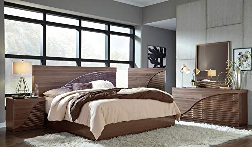 Global Furniture USA North Bedroom Set with LED Lights, Zebra Wood Finish, 5 pc (Queen)