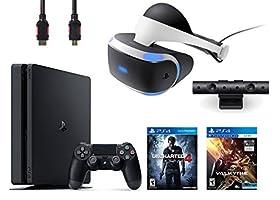PlayStation VR Bundle 4 Items:VR Headset,Playstation Camera,PlayStation 4 Slim 500GB Console - Uncharted 4,VR Game Disc PSVR EV-Valkyrie