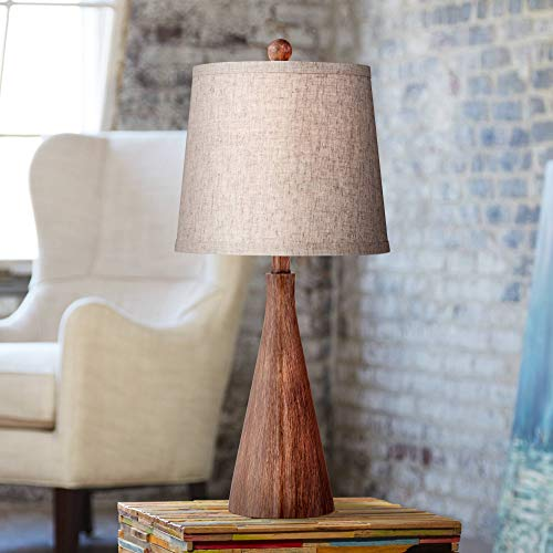 (Fraiser Mid Century Modern Accent Table Lamp Wood Cone Oatmeal Drum Shade for Living Room Family Bedroom Bedside Nightstand - 360 Lighting)