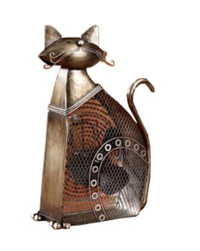 (DecoBREEZE Decorative Table Fan, Desk Fan, Two Speed Electric Tabletop Fan, Figurine Fan, 7 inch, Large Cat )