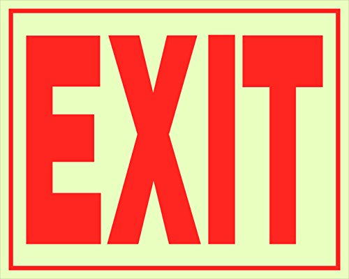 (Hillman 840200 Exit Self Adhesive Sign, Glow in the Dark Vinyl with Reflective Red Lettering, 8x11 Inches 1-Sign)