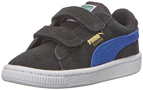 PUMA Suede 2 straps Sneaker (Infant/Toddler/Little Kid) , Black/Limoges/Team Gold, 7 M US Toddler