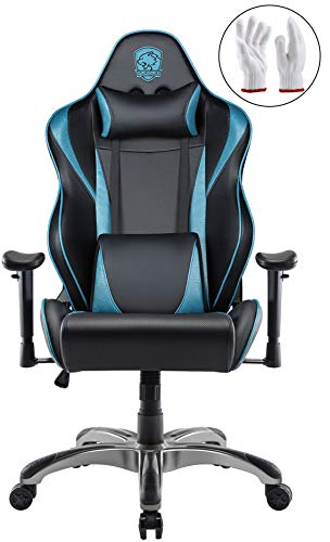 Heavy Support Gaming Chair Racing Style Swivel Computer Gamer Chair with Fully Foam, Esports Video Game Chair, PU Leather Executive Office Chair with Lift Headrest and Lumbar Support Blue