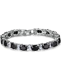 Wedding Cubic Zirconia Bracelet Chain Link Silver Tone