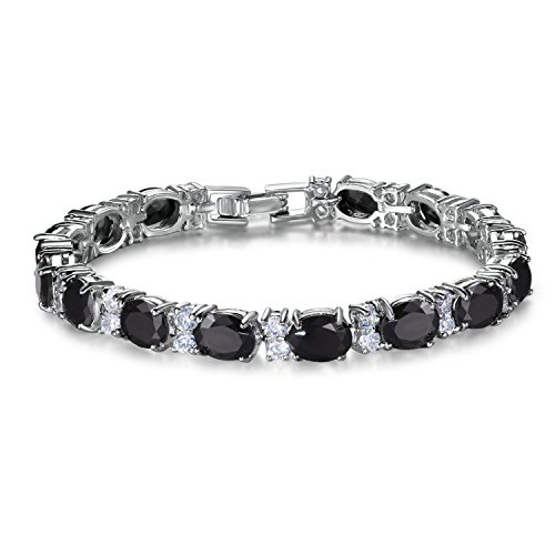 SELOVO Sparkling Black Stone Cubic Zirconia Oval Cut Stones Tennis Bracelet Silver ()