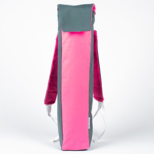 Yoga Mat Tote / Backpack (Perfect for biking to yoga!) (Grey / Pink)