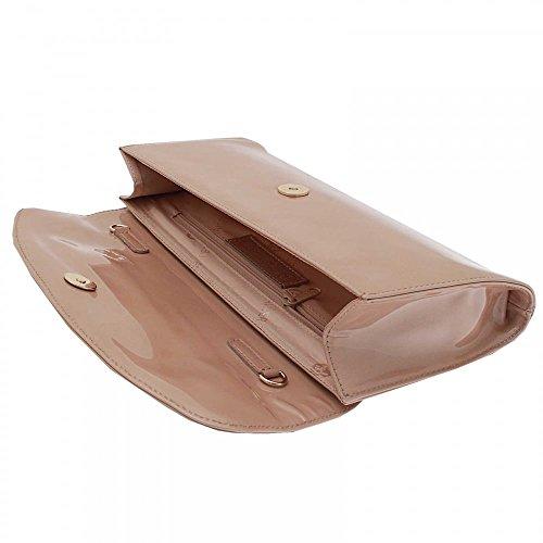 Peter Kaiser Liv Folder Over Clutch Bag With Strap Beige Patent