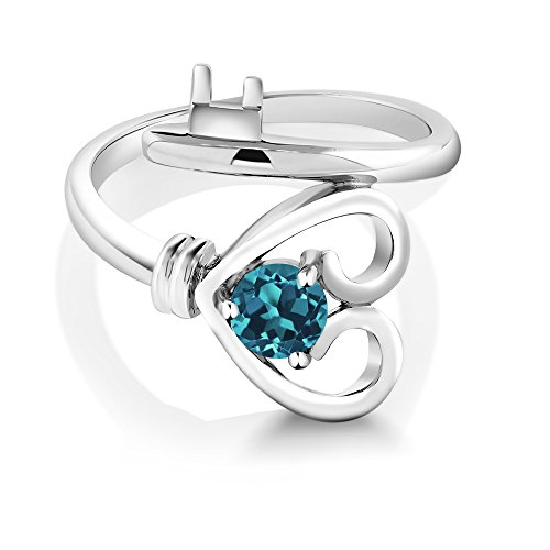 Gem Stone King 925 Sterling Silver London Blue Topaz Gemstone Birthstone Women s Heart Key Ring 0.50 Ct Round Available 5,6,7,8,9