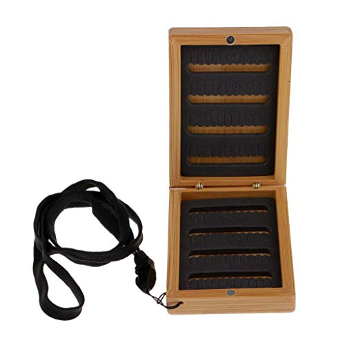 Agordo Fishing Tackle Box with Slit Foam Insert Magnetic Bamboo Fly Fishing Box