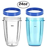 KORSMALL Compatible Replacement Parts for NutriBullet by 2Pack 24oz Tall Blender Cups(Blue and Clear) with 2 Blue Lip Rings