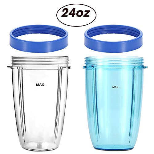KORSMALL Compatible Replacement Parts for NutriBullet by 2Pack 24oz Tall Blender Cups(Blue and Clear) with 2 Blue Lip Rings by KORSMALL