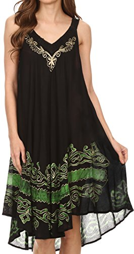 Sakkas 16605 – Gasha Sleeveless Mid Length Caftan Dress With Embroidery Details And V Neck – Black / Green – OS