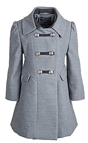 (Rothschild Little Girls Wool Look A-line Military Long Winter Dress Coat - Grey (Size 3T))
