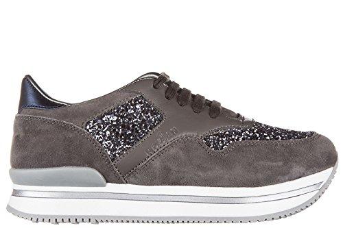 Hogan scarpe sneakers bambina camoscio nuove j222 allacciato grigio