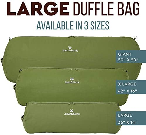 """Large Duffle Bag - Green 36""""x14"""" - 90L - Canvas Military and Army Cargo Style Carryall Duffel for Men and Woman – College Student, Backpacking, Travel and Storage Shoulder Bag"""