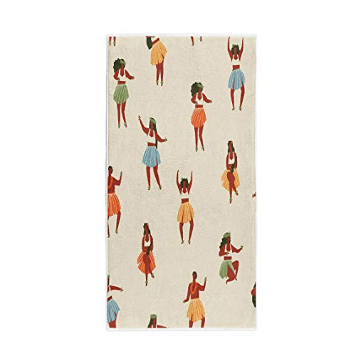 (Semtomn 14 x 30 Inches Bath Towel Cute Hawaii Dance Girls Playing Ukulele and Dancing Hula Soft Absorbent Travel Guest Decor Hand Towels Washcloth for Bathroom(One Side Printing))