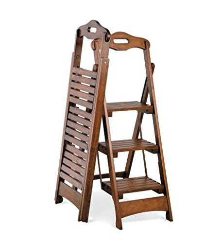 Wooden Folding Ladder Stool 3 Step Walnut Finish 48