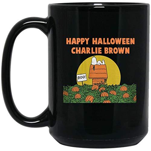 Peanuts Happy Halloween Charlie Brown Adult Navy Heather 15 oz. Black Mug]()