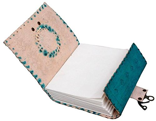 Tuzech Handmade 100% Pure Leather Diary Leather Journal for Office Home Daily Use With C Lock 7 Inches (Ocean Blue)