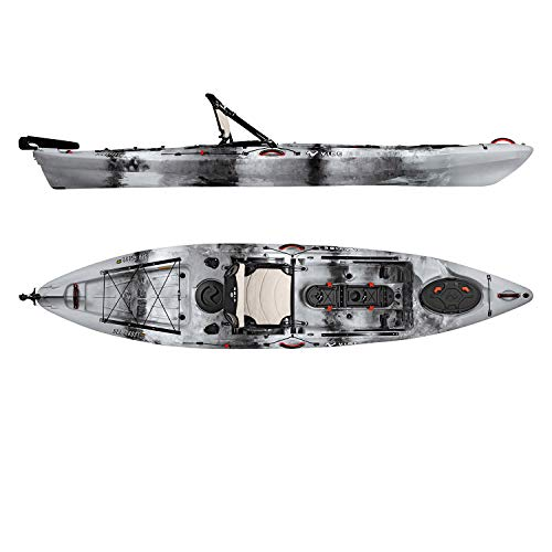 Vibe Kayaks Sea Ghost 130 13 Foot Angler Sit On Top Fishing Kayak with Adjustable Hero Comfort Seat and Transducer Port and Rod Holders and Storage and Rudder System Included (Smoke camo)