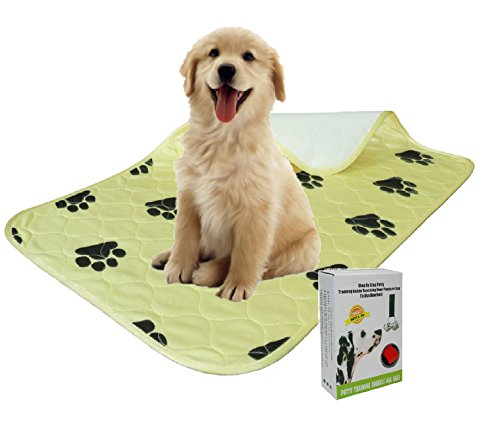 Washable Pee Pad for Dogs 28x32inches – Reusable Puppy Pee Pad, Ultra Absorbent Waterproof Quilted Pad. Pet Training, Travel and Whelping. Includes Training Doorbells at no cost Review
