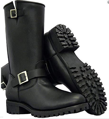 Stivali Black Unisex Biker Buckle Wild Leather Grinder One 7qZpp0