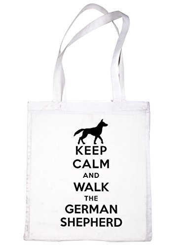 Shopping Dog Walk Tote Shepherd White German Bag The and Print4u Calm Keep S6Hpxwqx
