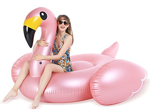 Jasonwell Giant Inflatable Flamingo Pool Float with Rapid Valves Summer Beach Swimming Pool Party Lounge Raft Decorations Toys for Adults Kids XXXX-Large ()