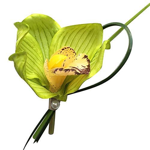 Green Orchid Boutonniere - Green Orchid Boutonniere in Kelly Green