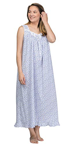 Eileen West Long Sleeveless Cotton Lawn Nightgown in Twilight Rose (White/Blue/Pink Floral, Large)