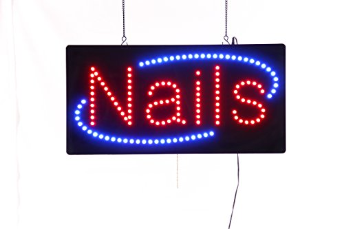 (LED Nails Open Light Sign Super Bright Electric Advertising Message Display Board for Business Shop Store Window Bedroom 19 x 10 inches (19 x 10 inches))