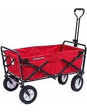 عربة أطفال قابلة للطي من KingCamp عربة شاطئ ساحة حديقة قابلة للطي، لون أحمر