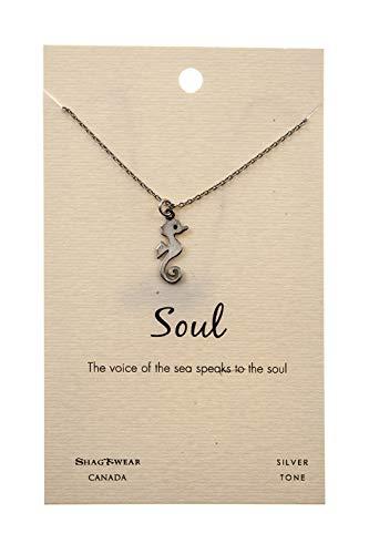 (Shag Wear Animal Inspirations Quote Pendant Necklace (Soul, Seahorse Pendant))