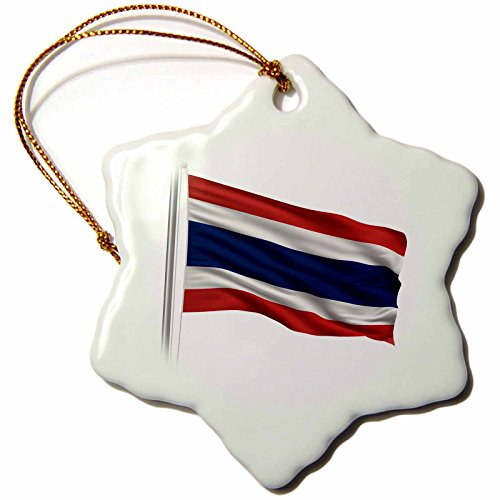 3dRose orn_157284_1 Flag of Thailand on a Flag Pole Over White Thai Porcelain Snowflake Ornament, 3-Inch by 3dRose