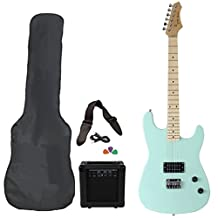 Jameson Guitars RWGT280SFGR Full Size Electric Guitar Package with Amplifier Case and Starter Accessories Pack, Seafoam Green