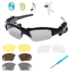 Gafas de Sol Inalámbricos,KINGCOO Plegables Bluetooth Auriculares Estéreo Música para Teléfonos Inteligentes Dispositivos Bluetooth + Lente de 3 pares Reemplazable Gratis (Negro)